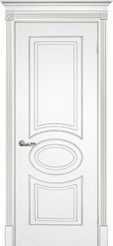 Межкомнатная дверь ТЕКОНА Смальта 03 Белый ral 9003  патина серебро фото