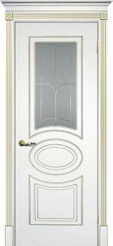 Межкомнатная дверь ТЕКОНА Смальта 03 Белый ral 9003  патина золото фото