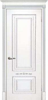 Межкомнатная дверь ТЕКОНА Смальта 04 Белый ral 9003  патина серебро фото