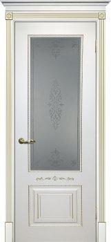 Межкомнатная дверь ТЕКОНА Смальта 04 Белый ral 9003  патина золото фото