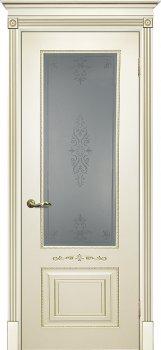 Межкомнатная дверь ТЕКОНА Смальта 04 Слоновая кость ral 1013 патина золото фото
