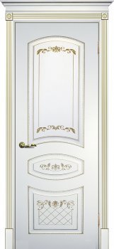 Межкомнатная дверь ТЕКОНА Смальта 05 Белый ral 9003  патина золото фото