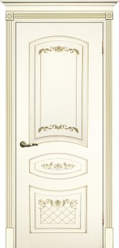 Межкомнатная дверь ТЕКОНА Смальта 05 Слоновая кость ral 1013 патина золото фото
