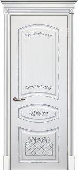 Межкомнатная дверь ТЕКОНА Смальта 05 Белый ral 9003  патина серебро фото