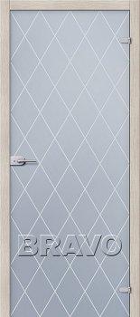 Межкомнатная дверь Кристалл, Белое Сатинато фото