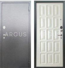 Дверь Аргус Люкс АС Голд Белое Дерево / Серебро Антик