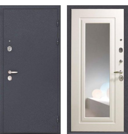 """Дверь Интекрон """"Эллада"""" черный шелк/белый ясень с зеркалом"""