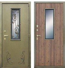 Дверь АСД с окном и ковкой Дуб старый