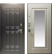 Дверь ЗД Кватро Зеркало Беленый дуб