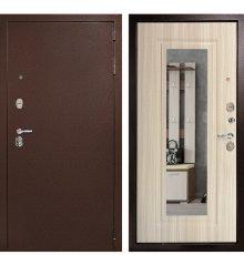 Входная металлическая дверь Континент Гарант-1 3К (Медный антик / Сандал белый) (Зеркало)