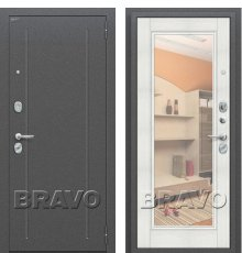 Дверь Bravo Флэш Антик Серебро/Bianco Veralinga (Зеркало)