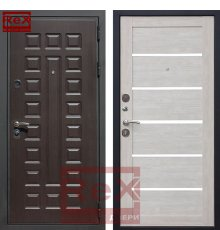 Дверь Премиум 3 CБ-14 Лиственница беж + белое стекло