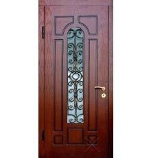 Двери с витражами и ковкой ДВК-3003