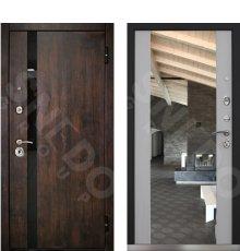 Дверь Снедо Премьер 2К Тиковое дерево/белая лиственница зеркало