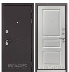 Дверь Бульдорс Mass-90 Букле шоколад R-4/Ларче белый 9SD-2