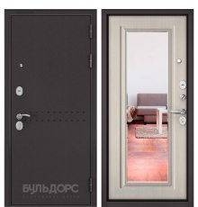 Дверь Бульдорс Mass-90 Букле шоколад R-4/Ларче бьянко 9P-140, mirror