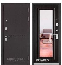 Дверь Бульдорс Mass-90 Букле шоколад R-4/Ларче темный 9P-140, mirror