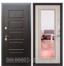 Дверь Бульдорс Mass-90 Ларче шоколад 9S-108/Ларче бьянко 9P-140, mirror