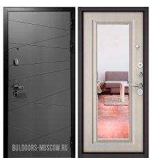 Дверь Бульдорс PREMIUM-90 Графит софт 9Р-130/Ларче бьянко 9P-140, mirror