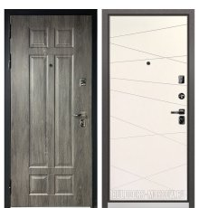 Дверь Бульдорс PREMIUM-90 Дуб шале серебро 9Р-115/Белый софт 9P-130