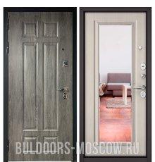 Дверь Бульдорс PREMIUM-90 Дуб шале серебро 9Р-115/Ларче бьянко 9P-140, mirror