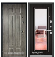 Дверь Бульдорс PREMIUM-90 Дуб шале серебро 9Р-115/Ларче темный 9P-140, mirror