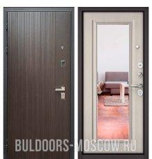 Дверь Бульдорс PREMIUM-90 Ларче темный 9Р-131/Ларче бьянко 9P-140, mirror