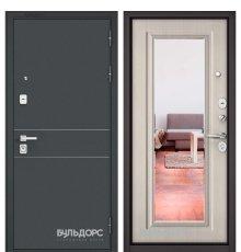 Дверь Бульдорс PREMIUM-90 Черный шелк D-14/Ларче бьянко 9P-140, mirror