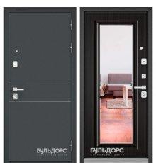 Дверь Бульдорс PREMIUM-90 Черный шелк D-14/Ларче темный 9P-140, mirror