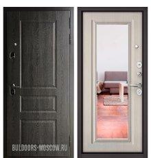 Дверь Бульдорс STANDART-90 Дуб графит 9SD-2/Ларче бьянко 9P-140, mirror