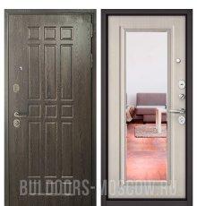 Дверь Бульдорс STANDART-90 Дуб Шоколад 9S-111/Ларче бьянко 9P-140, mirror