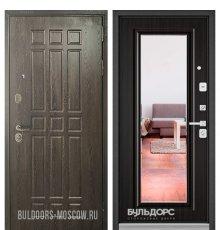 Дверь Бульдорс STANDART-90 Дуб Шоколад 9S-111/Ларче шоколад 9P-140, mirror