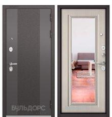 Дверь Бульдорс STANDART-90 Черный шелк 9К-4/Ларче бьянко 9P-140, mirror