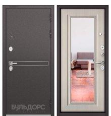 Дверь Бульдорс STANDART-90 Черный шелк D-4/Ларче бьянко 9P-140, mirror