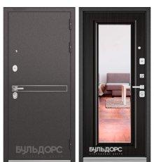 Дверь Бульдорс STANDART-90 Черный шелк D-4/Ларче шоколад 9P-140, mirror