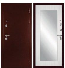 Дверь с зеркалом С-503 (Антик медный / Сандал белый) фото