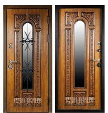 Дверь Сударь Рим с окном и ковкой (Голден Оак Винорит) фото