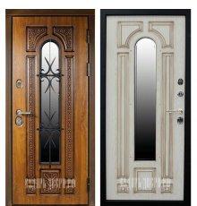 Дверь Сударь Рим с окном и ковкой (Голден Оак Винорит / Алмон 25) фото