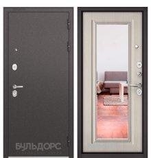 Дверь Бульдорс STANDART-90 Черный шелк/Ларче бьянко 9P-140, mirror