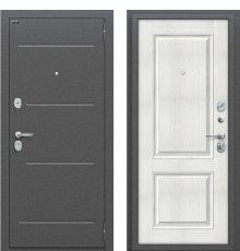 Дверь входная металлическая Оптим Стиль Антик Серебро / Bianco Veralinga фото