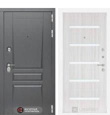 Дверь Лабиринт Платинум 01 - Сандал белый, стекло белое