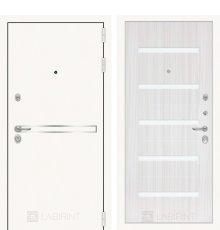 Дверь Лабиринт Лайн WHITE 01 - Сандал белый, стекло белое