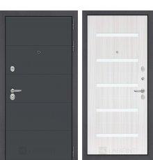 Дверь Лабиринт ART графит 01 - Сандал белый, стекло белое