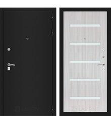 Дверь Лабиринт CLASSIC шагрень черная 01 - Сандал белый