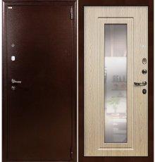 Дверь Лекс 1А / с зеркалом Беленый дуб (панель №23)