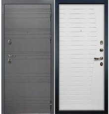 Дверь Легион Графит софт / Волна Белый ясень (панель №36)