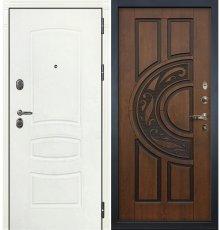 Дверь Легион Белая шагрень / Голден патина (панель №27)