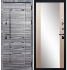 Дверь Сенатор 3К Сандал серый / Беленый дуб с Зеркалом Стиль (панель №45)