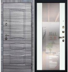 Дверь Сенатор 3К Сандал серый / Белый экошпон с Зеркалом Стиль (панель №61)