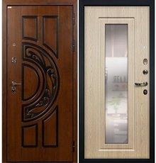 Дверь Спартак CISA / с зеркалом Беленый дуб (панель №23)